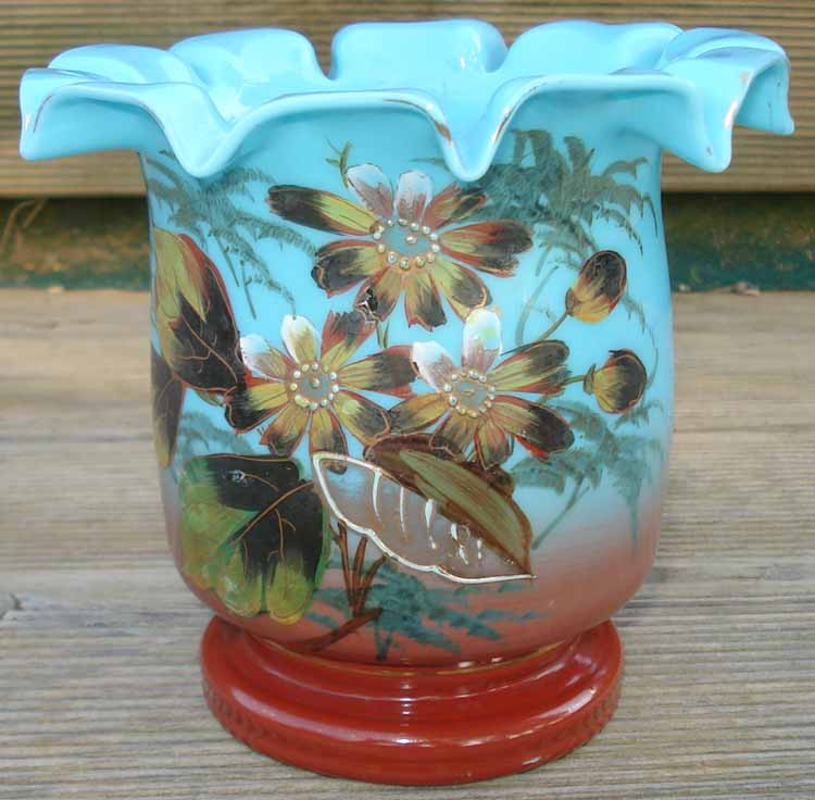 cache pot jardini re verre maill opaline glass enameled flowers ebay. Black Bedroom Furniture Sets. Home Design Ideas